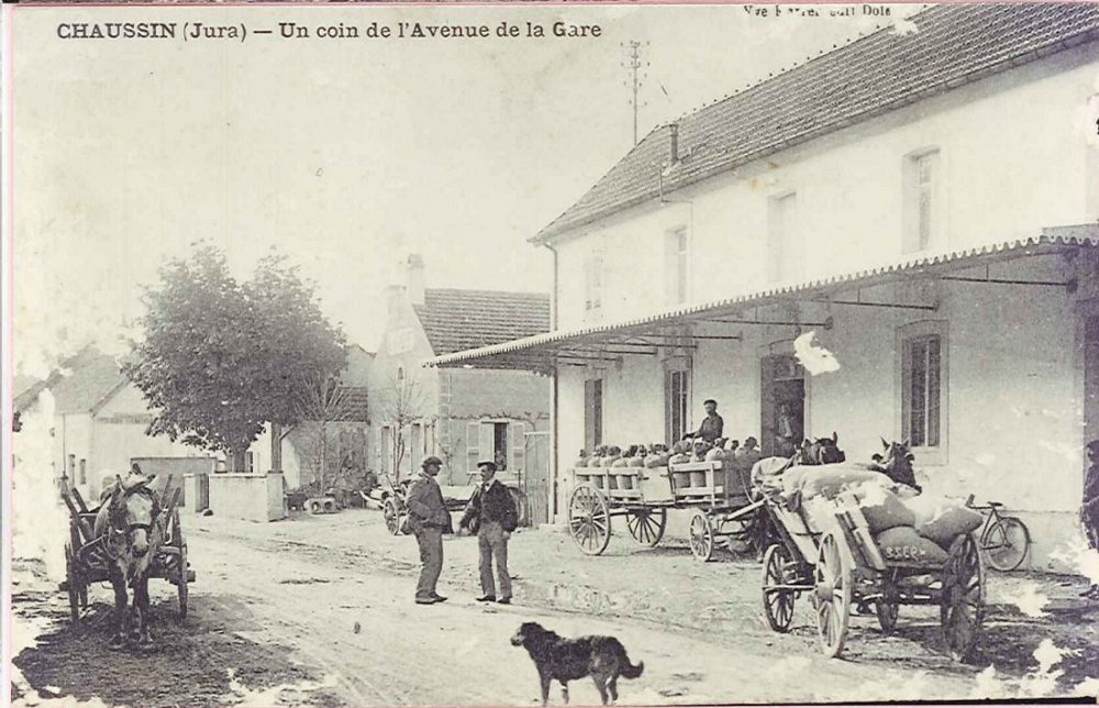 Photo ancienne : l'avenue de la gare à Chaussin
